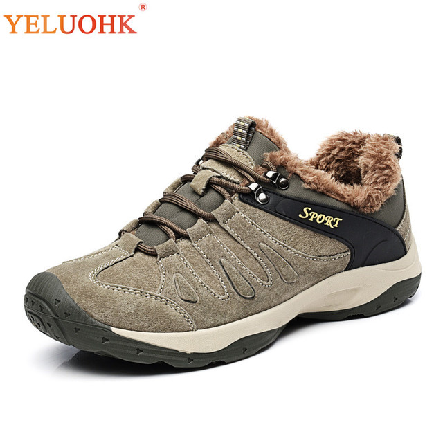 38-44 Natural Suede Winter Shoes Men High Quality Winter Men Boots Plush Warm Men Shoes Anti skidding