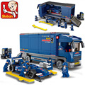 Sluban 0357 DIY Bloque Camión Modelo de Coche de Carreras de F1 Building Blocks Figura Classic 641 unids Ladrillos de Construcción Juguetes Regalos de Los Niños