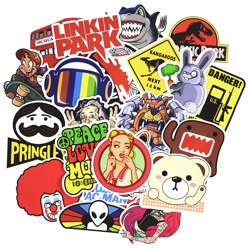 Hot 50-100 PCS Mix Stickers para Laptop Skateboard Equipaje Car - Juguetes clásicos - foto 3