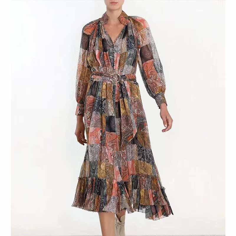 Cosmicchic Designer robe de piste à manches longues carré impression v cou robe en soie à volants mi mollet robe de plage 2 pièces ZIM 2019-in Robes from Mode Femme et Accessoires    3
