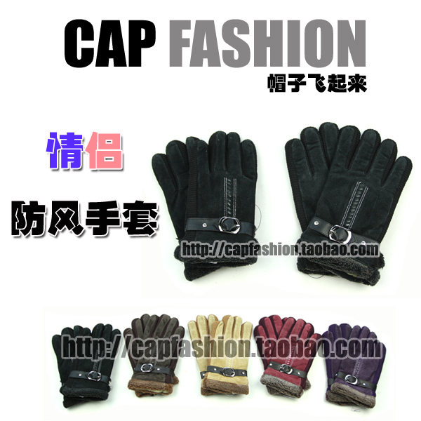 Lovers gloves quality thermal chicken leather windproof leather hasp wool gloves female male ride gloves