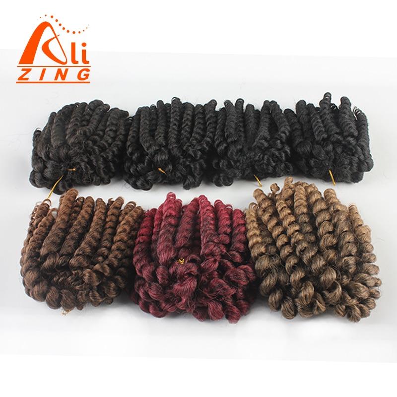 Alizing Short Ombre Wand Curls Twist Braid Crochet Hair Extensions 3Packs/Lot Bounce 8inch Kanekalon African Hair Braiding