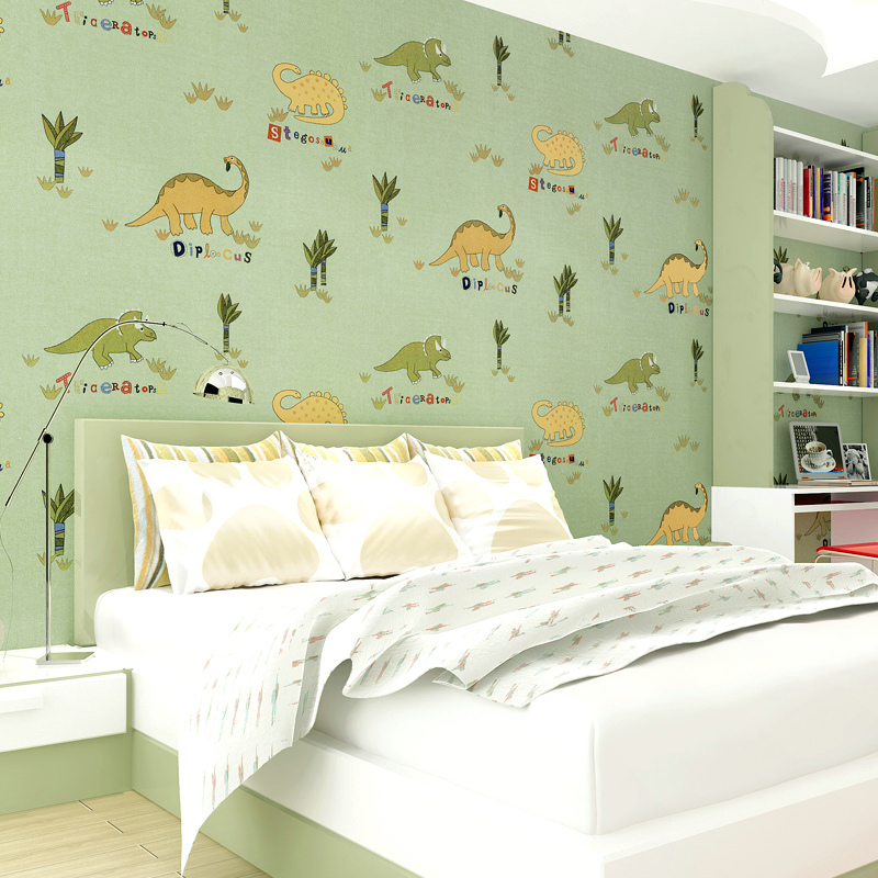 Dinosaur cartoon mural animals wallpaper for kids room for Papel pared infantil