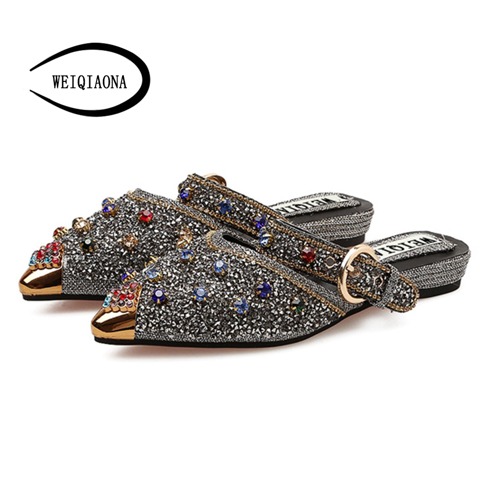 Female Pointed Toe Shoes Bling Women Crystal New Women Luxury sandals shoes  Slippers Outdoor casual party ... b2acf1b382f1
