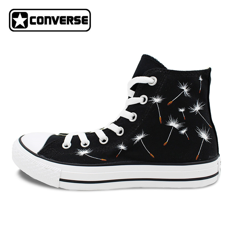 Black Converse Chuck Taylor Women Men Shoes Dandelion Original Design Hand Painted Shoes High Top Woman Man Sneakers Gifts