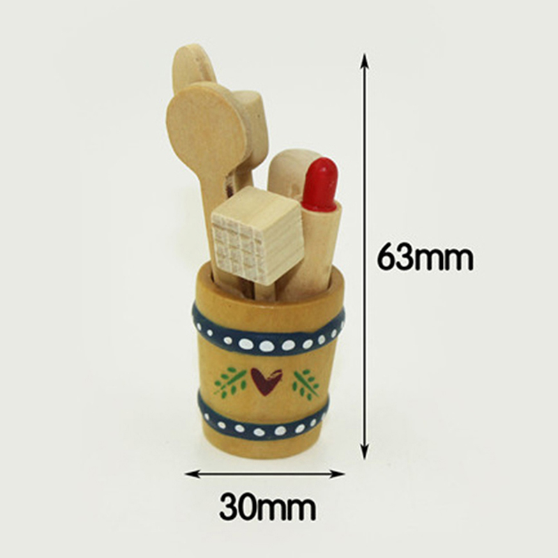 Mini Wooden Kitchen Kitchenware Simulation Spoon Shovel Model Toy For Doll House Decoration 1/12 Dollhouse Miniature Accessories