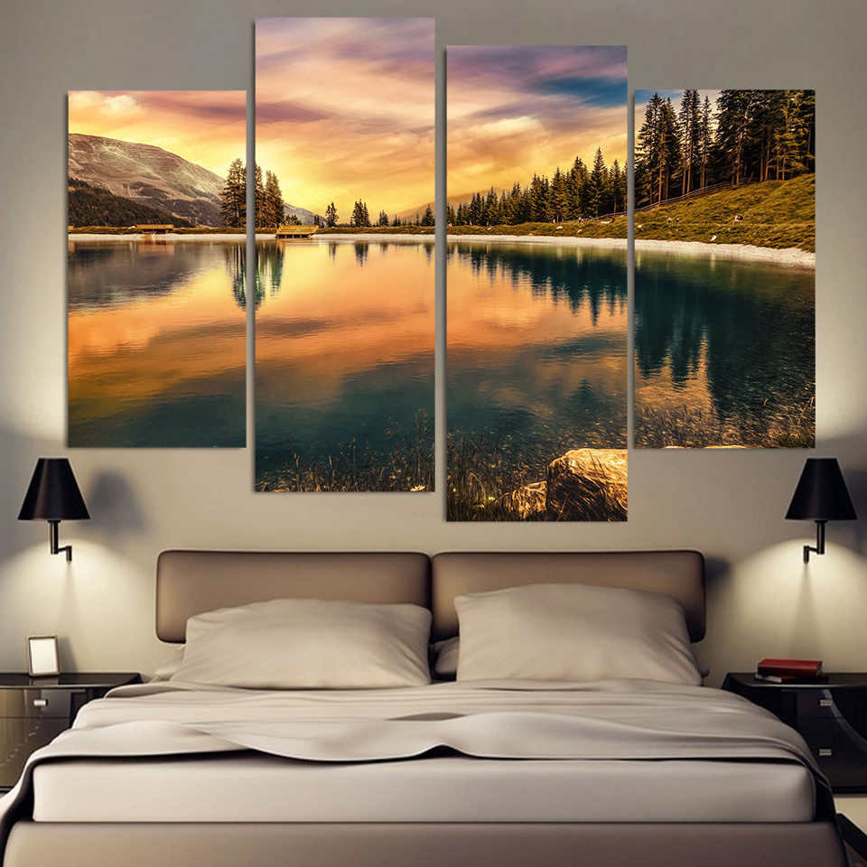 4 piece canvas painting mount calm lake hd printed canvas art prints wall art home decor poster - Canvas prints home decor photos ...