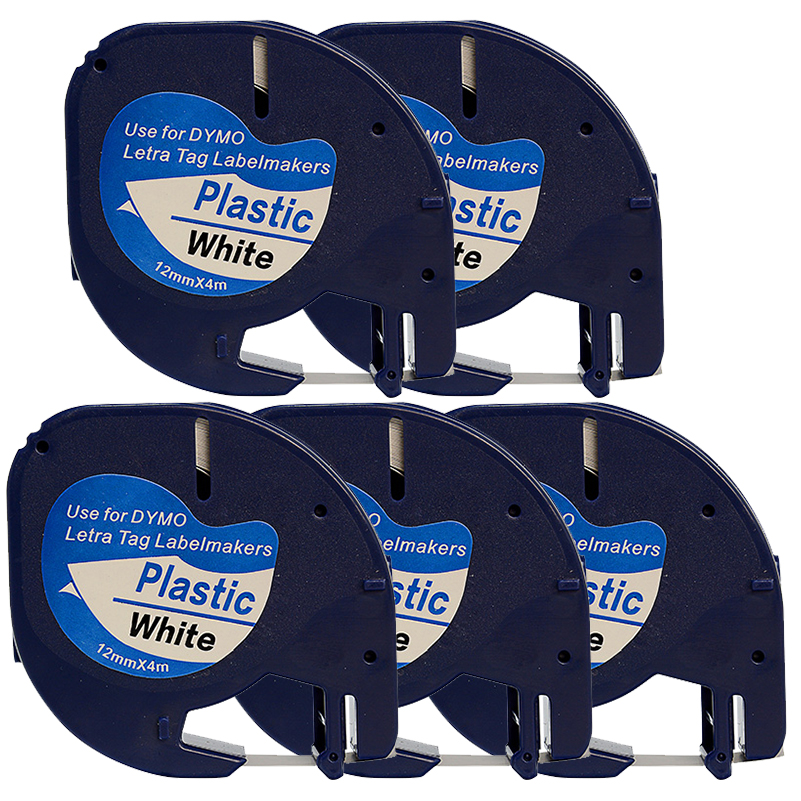 5PK-lot Compatible DYMO Letratag plastic tape 12mm black on white LT 91201 91331 for dymo LT printer