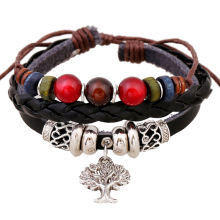 Women Leather Bracelets Hot Punk Style Beaded Men Bracelet Christmas Tree Pattern Cuff Jewelry Bangles Handmade Original Design