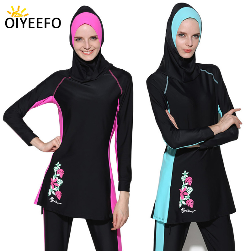 Oiyeefo S 4XL Floral Black Modest Swimwear Muslim Hijab Full Cover Swimsuit Long Pants with Feet Band Islamic Swim Suits Women