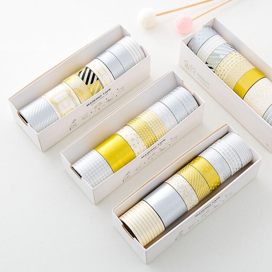 6 + 2 de plata de oro washi cinta conjunto de cintas adhesivas de papel de diario libro álbum marco pegatinas scrapbooking papelería A6907