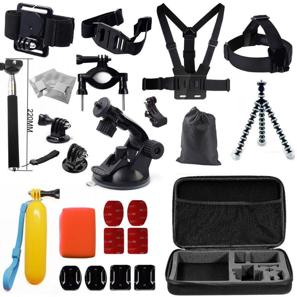 Gopro accessoires set go pro kit de montage pour SJ4000 gopro hero 4 3 2 1 noir édition SJCAM SJ5000 caméra étui xiaoyi poitrine trépied