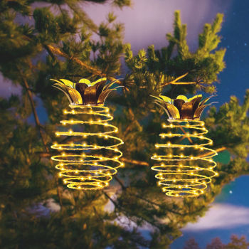 2 Pcs New Garden Pineapple Hanging Solar Lights