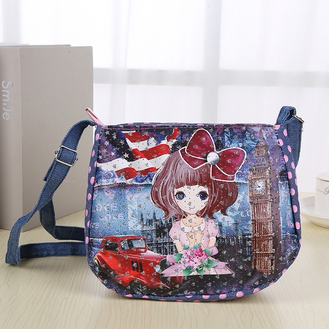 572427f95f94 Cartoon Kids Children Mini Messenger Bags Girl Denim School Bag Satchel for Girls  Crossbody Shoulder Bags