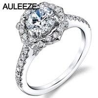 สุภาพสตรีเก่งทองMoissanitesแหวนหมั้นสำหรับผู้หญิง14พันสีขาวแต่งงานทองวง1กะรัตรอบรัศมีLabปลูก