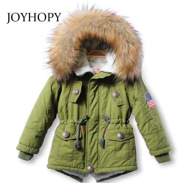 cca1e847e Children jackets Girls Boys Coats Hooded Faux Fur Collar Thick ...