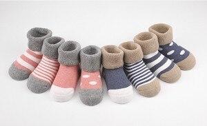 Носки из чесаного хлопка для мальчиков и девочек, 4 пара/лот, носки-тапочки для новорожденных, теплые зимние хлопковые носки без косточек