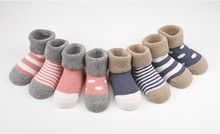 4pair/lot combed cotton girl&boy socks toddler newborn floor baby sock No bone promoted thick warm winter