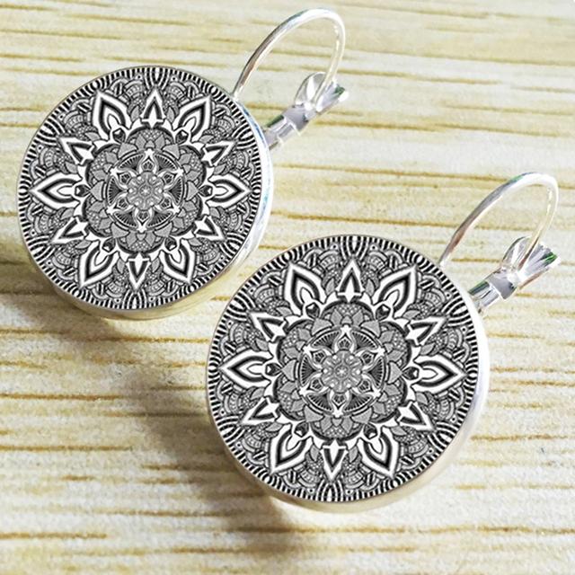 Mandala Glass Earrings On Bronze Earring  Om Symbol Buddhism Zen Henna Yoga Earring Jewelry For Women Free Shipping