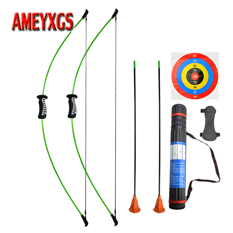 15lbs Children Recurve Bow Set Straight Bow Sucker Arrow Kit Left And Right Hand Archery Catapult