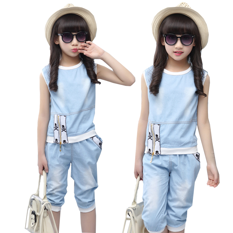 2018 Summer Girls Clothes Fashion Short Sleeve Jeans T Shirt Capri Pants Tracksuit Children Clothing Set 4-15 years Kids Clothes 2015 autumn girls clothes fashion punk pu leather coat jacket shirt pants 3pcs children clothing set 4 15 years old kids clothes page 10