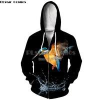 PLstar Cosmos Womens Casual Clothes Pretty Birds 3d Print Zipper Hoodies Sweatshirt Women/Men Autumn Zip up Jacket With hat