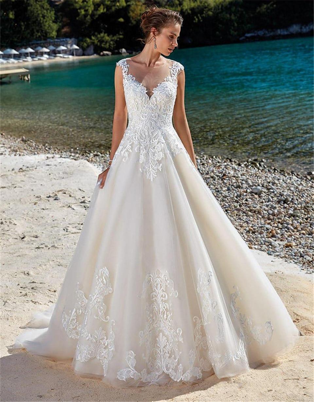 Pluse Size Wedding Dresses Lace Applique Sleeveless Illusion Beach Wedding Dress Bridal Gowns Vestidos De Novia 2019
