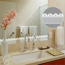 White Lace Wallpaper Borders Glass Door Decor Waist Line Kitchen Stickers diy Window Bathroom  Adhesive Mirror Sticker EZ080 ttlife muslim mirror acrylic removable mirror wall stickers home decoration mirror stickers window sticker glass films 80x30cm