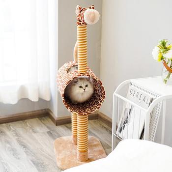 Summer Cute Giraffe Shape Pet Scratching Board with Nest for Cats Supplies