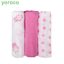 3Pcs Set 70x70cm Muslin Cloth Cotton Newborn Baby Swaddles Baby Blankets Gauze Bath Towel Cute Animal