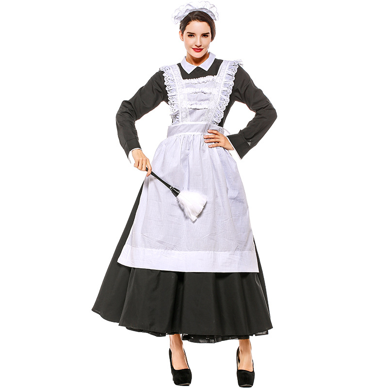 French Maid Costume Adult Women Black White Long Gown Arpon Dress Female Victorian Housekeeper Cosplay Outfit For Ladies XXXL