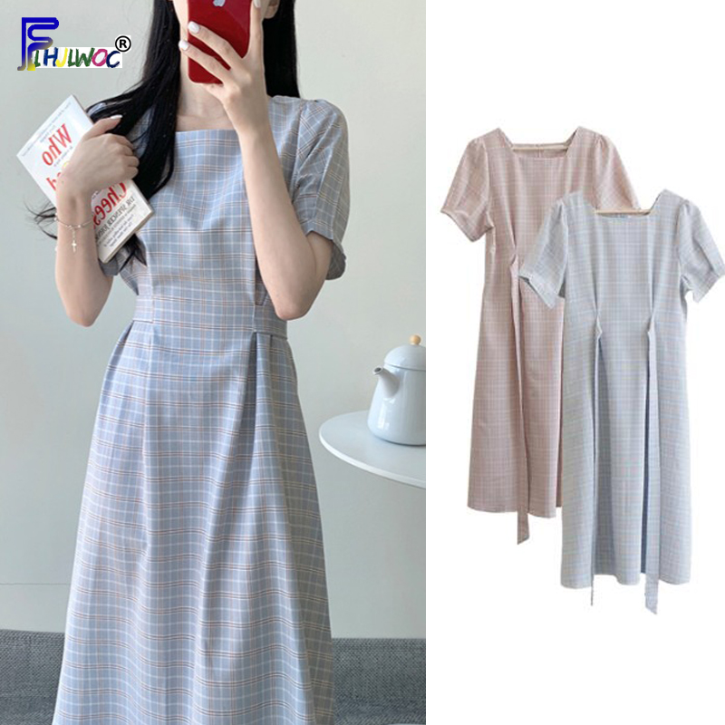 Vintage Dresses Hot Sales Woman Summer Short Sleeve Cute Sweet Korea Japan Style Design Blue Pink Lattice Plaid Dress 6815