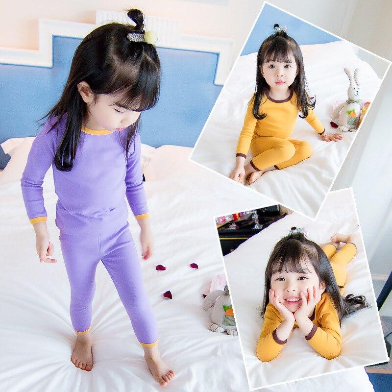 Zielsetzung Heißer Mädchen Unterwäsche 2018 Neue Wilde Mädchen Anzug Mädchen Herbst Nette Einfarbig Pyjamas Zwei-stück Gelb Lila Baumwolle Anzug