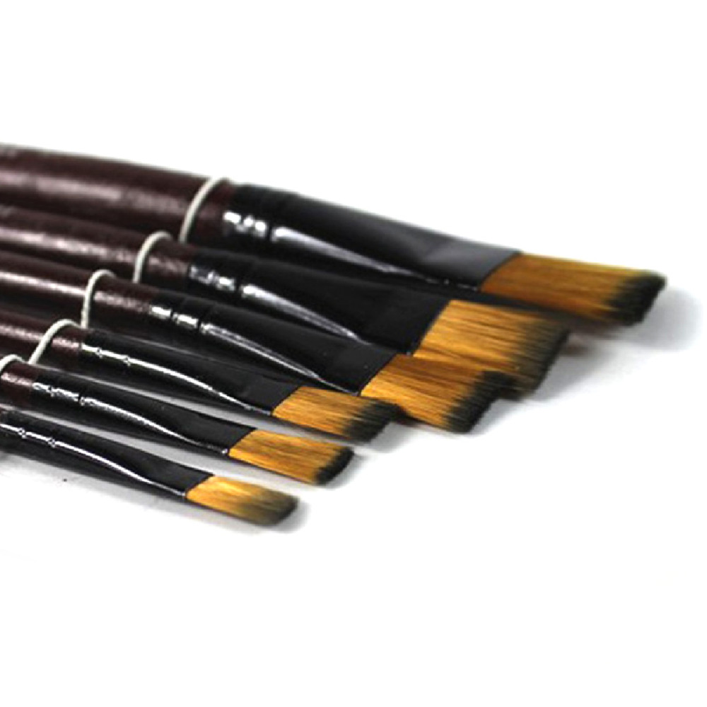 6pcs/set Different Shape Nylon Hair Paint Brush Set Wooden Handle Gouache Watercolor Oil Painting Brush Set Acrylics Art
