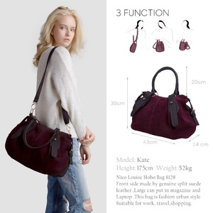 Image 2 - Nico Louise Women Real Suede Leather Boston Bag Original Design Lady Shoulder Traveling Doctor Handbag Top handle Bags Sac
