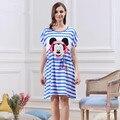 2017 Fashion Women Summer Soft Cotton Cute Cartoon Nightgowns Plus Size Loose Sleepshirts Sexy Princess Dress Leisure Homewear