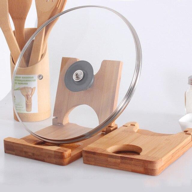 Folding Bamboo Pot Lids Holder Cutting Board Storage Rack Pot Clip Spoon  Rest Shelf Foldable Wooden