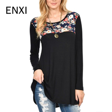 ENXI Spring Breastfeeding Tops Modal Pregnancy Thickening Embroidered Maternity Clothing Print Patchwork T-shirt Wearing