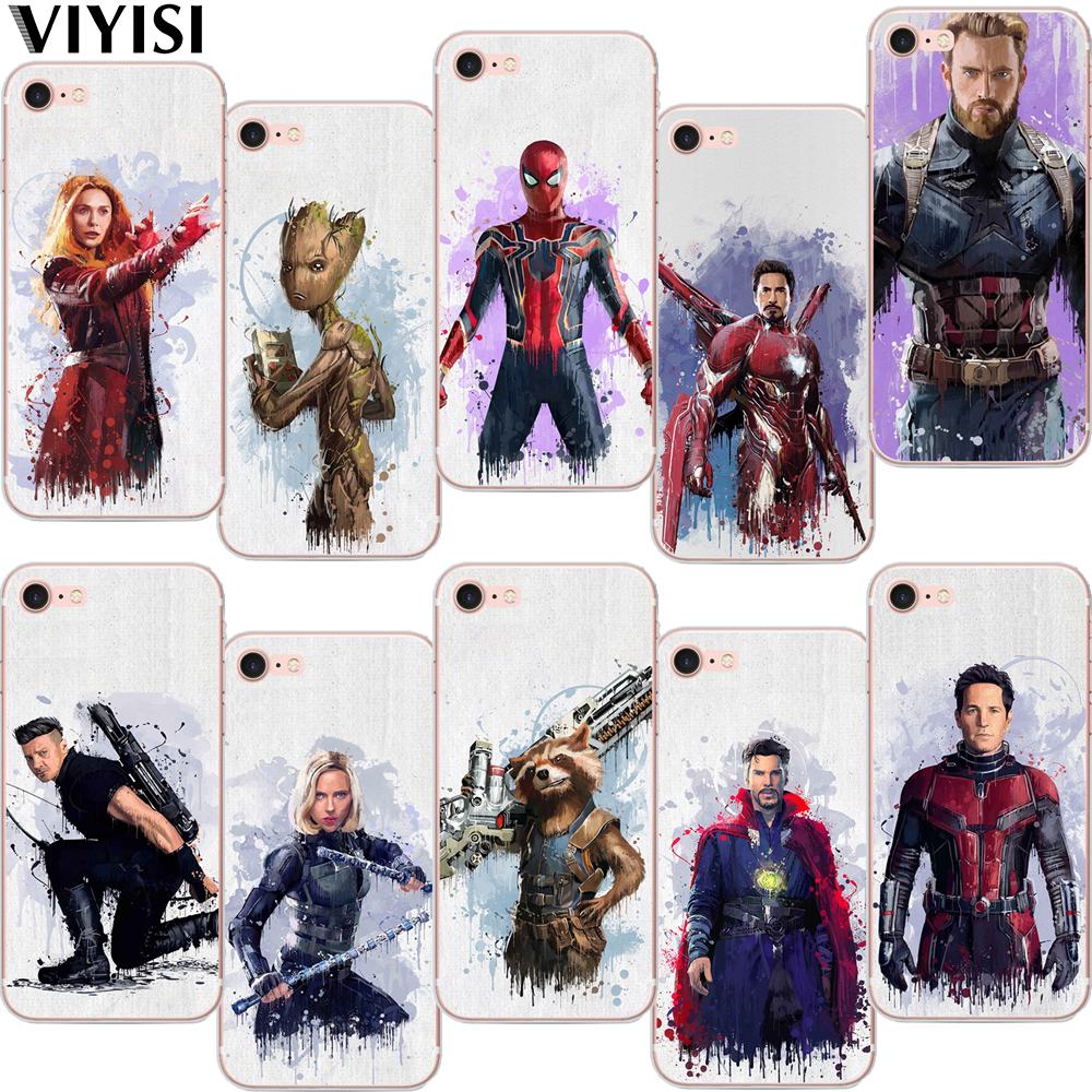 quality design 45fc2 2e899 Marvel Avengers Soft TPU Case For Iphone Iron Man Spiderman