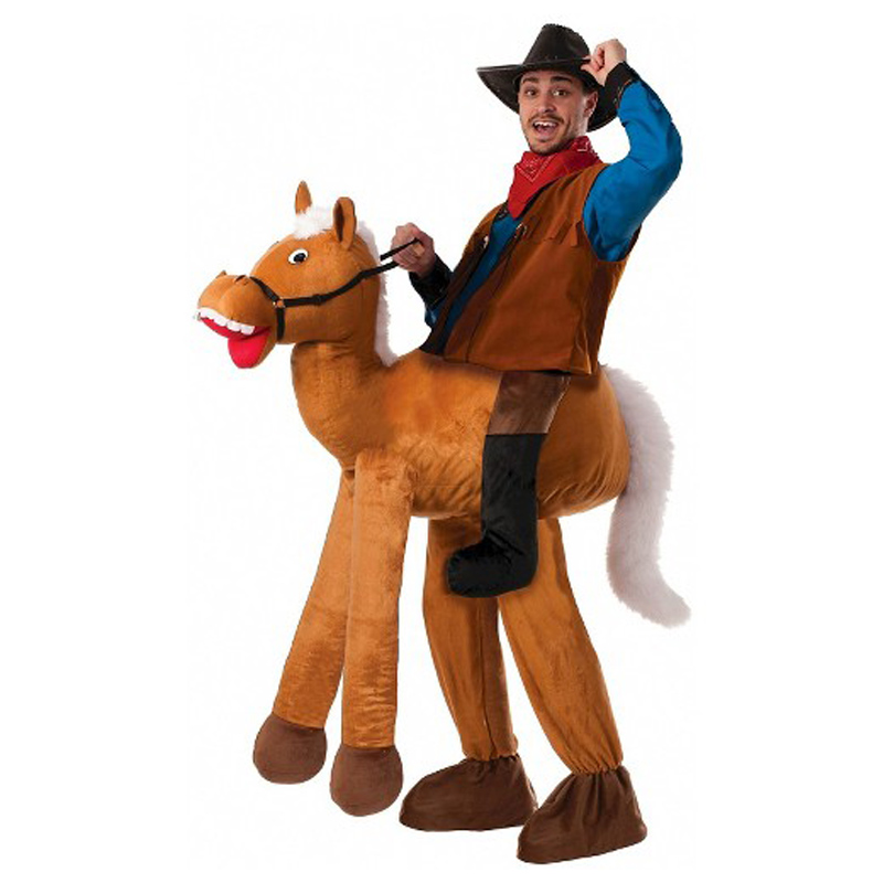 Giant Horse Ride-on Animal Men Costumes Christmas Party Piggyback Adults Cosplay Clothes Carnival Father Cowboy Dress Up Disfraz