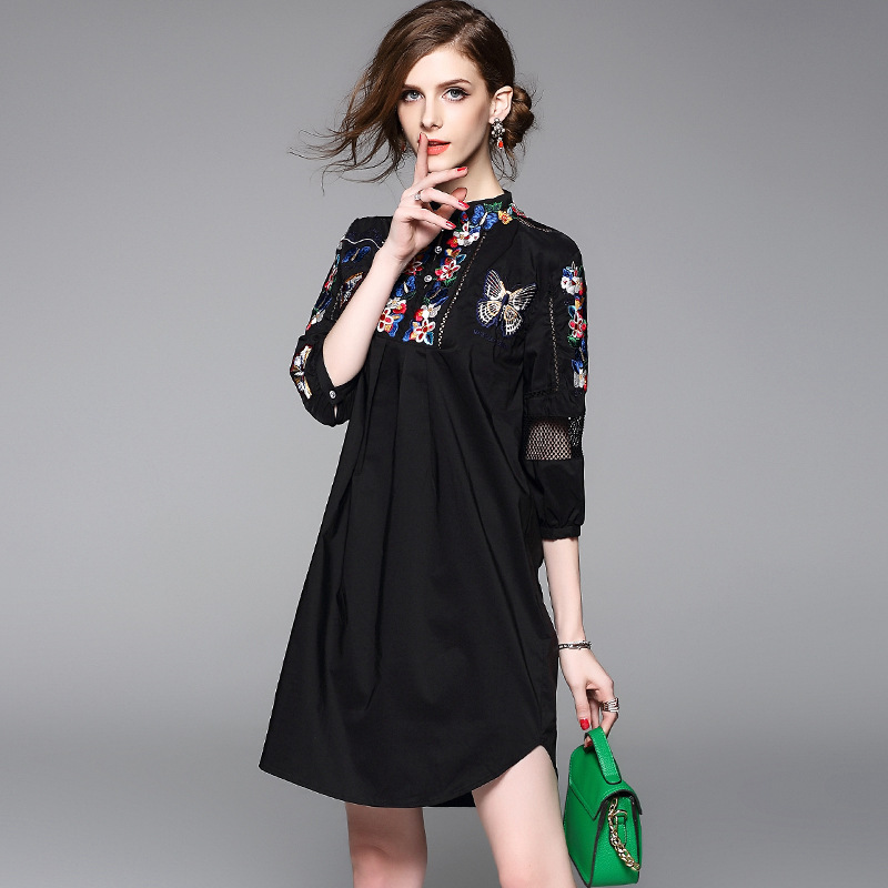 2017 Time-limited New Polyester Summer Women Floral Butterfly Embroidery Dress Casual Office Sexy Elegant Dresses Plus Size