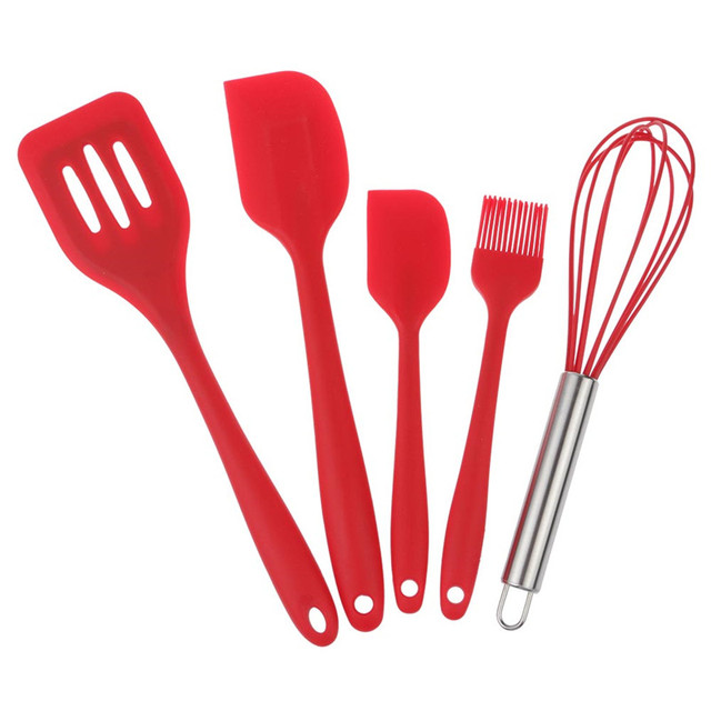 5Pcs Silicone Cooking Baking Tools Set Hygienic Kitchen Utensils  Accessories Red