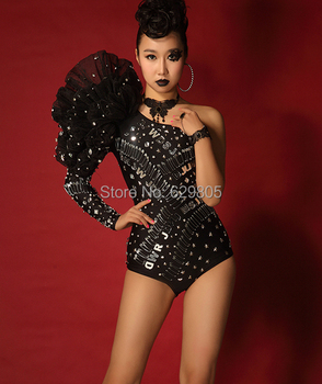 One Piece Sequins Bodysuit Costume Female Singer Ds Lead Dancer Clothing One Shoulder Pin Tight Fashion Stage Black
