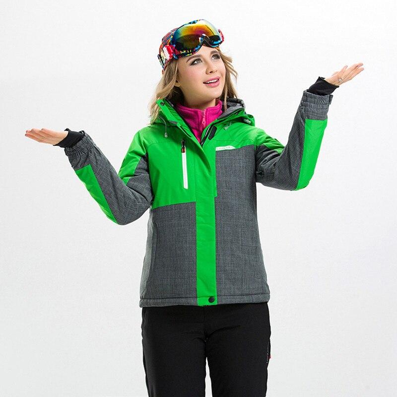 Prix pour Haute Qualité Femelle D'hiver Thermique Vêtements Coupe-Vent Imperméable combinaison de Ski pour Femmes Veste de Ski + Pantalon de Ski Snowboard Ensemble