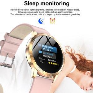 Image 5 - Cf18 1.22 Polegada relógio inteligente à prova dip67 água ip67 pressão arterial monitor de freqüência cardíaca metal starp multi modos esporte smartwatch feminino banda