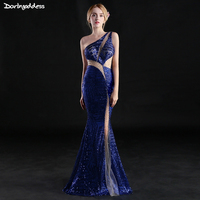 Robe De Soiree Real Photo Luxury Royal Blue Gold Mermaid Evening Dresses 2018 One Shoulder Beaded Sequins Long Prom Party Dress