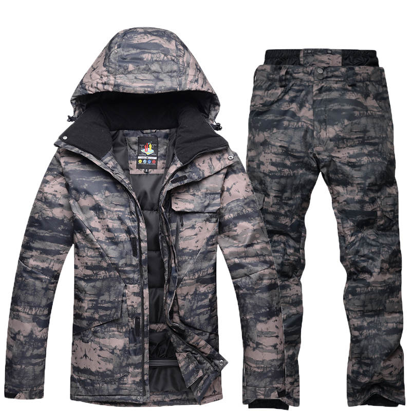 -35 для мужчин камуфляж Лыжный костюм комплект Сноуборд костюм одежды Водонепроницаемый дышащий зимний костюм куртка + теплый Мотобрюки