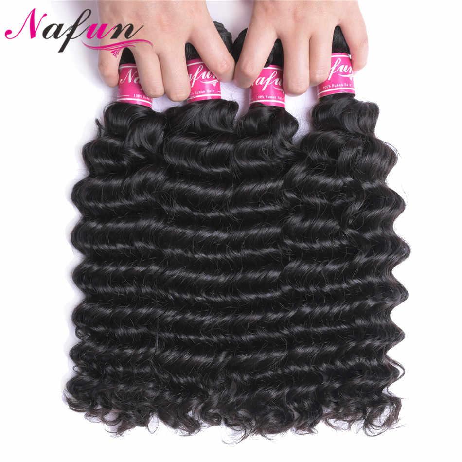 NAFUN волосы глубокие пучки волнистых волос бразильские не Реми волосы для наращивания волос для черных женщин 30 дюймов пучки 1 3 4 пучка