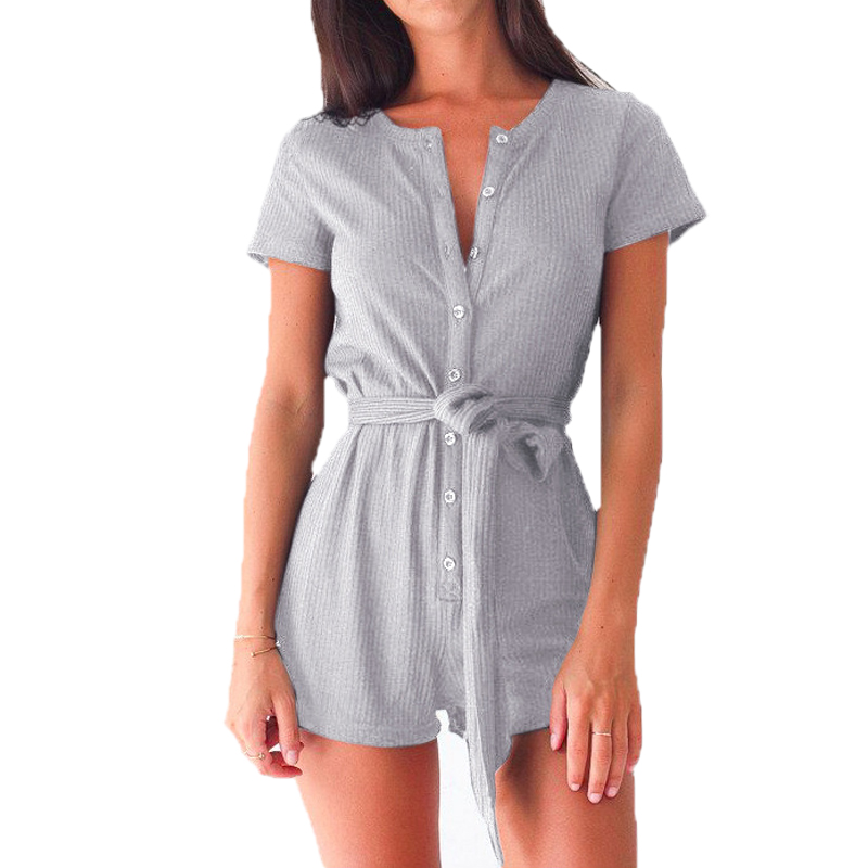 Plus Size Women Playsuits Rompers Sexy Casual Short Sleeve   Jumpsuits   Girls Playsuits Overalls Summer Women's Clothing GV540