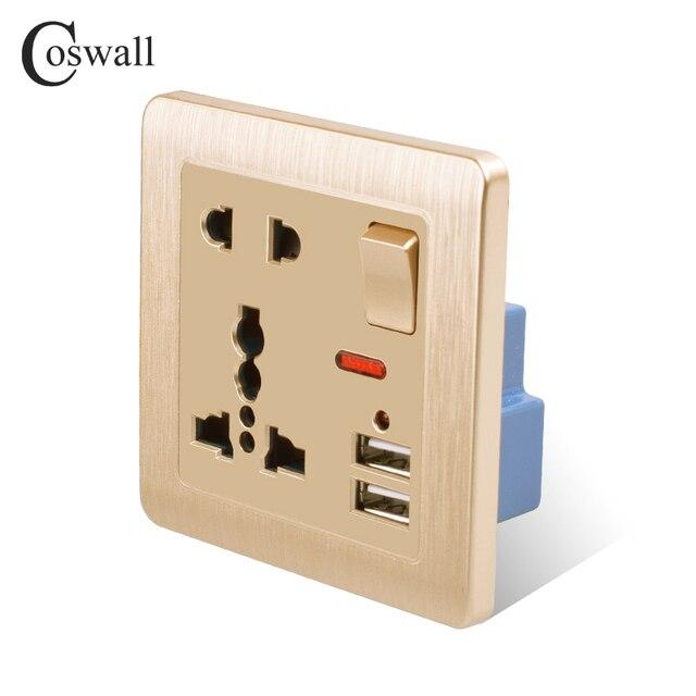 Coswall ścienne gniazdo zasilające 13A uniwersalny 5 otwór przełączane wylot 2.1A podwójny port ładowarki usb wskaźnik LED